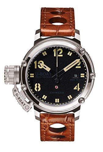 U Boat Chimre 43mm BK werden Herren Automatik Uhr mit schwarzem Zifferblatt Analog Anzeige und braunem Gurt 7226 0