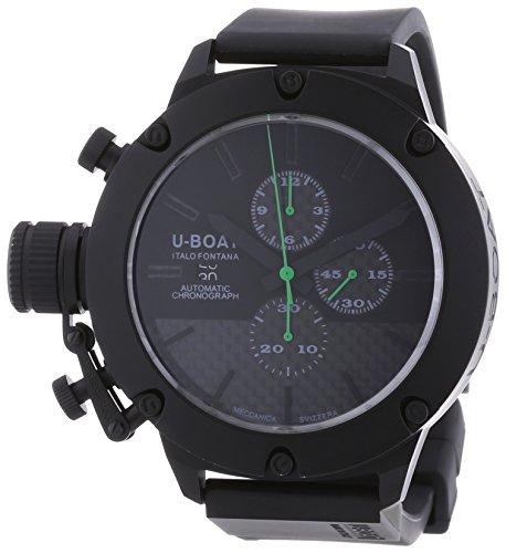 U Boat Classico 53Stop und Go Herren Automatik Uhr mit schwarzem Zifferblatt Chronograph Anzeige und schwarz Rubber Strap 6548