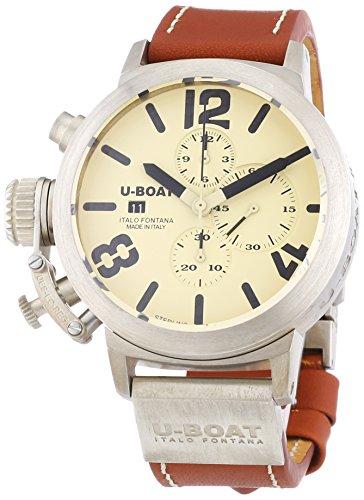 U Boat Classico 48Chrono Sterling Silber Herren Automatik Uhr mit Beige Zifferblatt Chronograph Anzeige und braun Lederband 6918