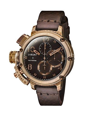 U Boat Chimre 46mm Bronze A Herren Automatik Uhr mit Braun Zifferblatt Chronograph Anzeige und braun Lederband 7474 0
