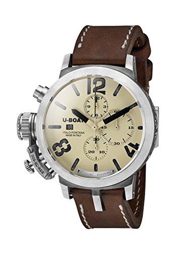 U Boat Classico 48 CHR 925 BE BK A 7452 0 Herren Automatik Uhr mit beigem Zifferblatt Chronograph Anzeige und braunem Lederband