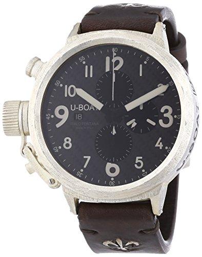 U Boat Flightdeck 50martellee Herren Automatik Uhr mit schwarzem Zifferblatt Chronograph Anzeige und braunem Lederband 7285