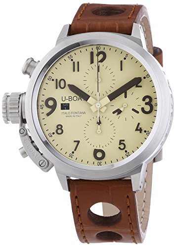 U Boat Flightdeck 45Cab werden Herren Automatik Uhr mit Beige Zifferblatt Chronograph Anzeige und braun Gurt 7117