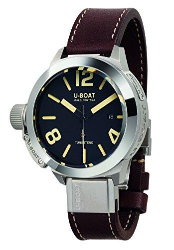 U Boat Herren Automatik Uhr mit schwarzem Zifferblatt Analog Anzeige und braunem Lederband 8092