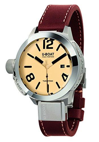 U Boat Herren Automatik Uhr mit Beige Zifferblatt Analog Anzeige und braunem Lederband 8093