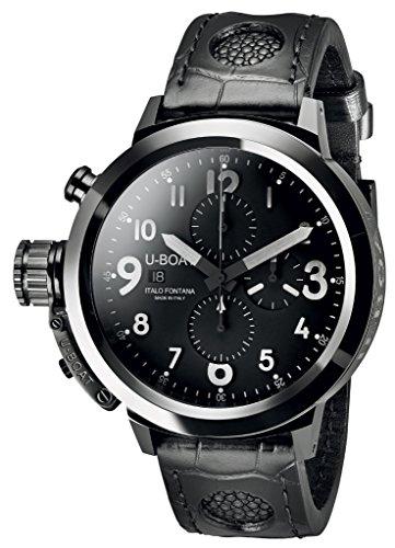 U Boat Herren Automatik Uhr mit schwarzem Zifferblatt Chronograph Anzeige und schwarzes Lederband 7387