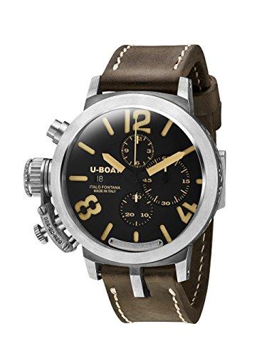 U Boat Herren Automatik Uhr mit schwarzem Zifferblatt Chronograph Anzeige und braunem Lederband 7453