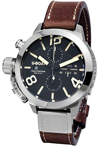U Boat Herren Automatikuhr mit schwarzem Zifferblatt Chronograph Anzeige und braunem Lederband 7430 A
