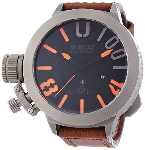 U Boat U1001Classico 55Herren Automatik Uhr mit schwarzem Zifferblatt Analog Anzeige und schwarz Gummiband 75cm