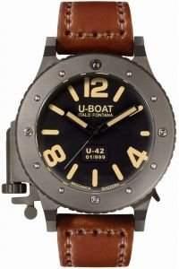 U-Boat Unisex-Armbanduhr U-42 BK AUTO 47 MM Analog Automatik Leder 6471
