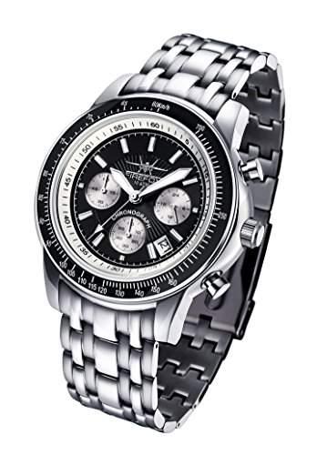 FIREFOX AIRLINER FFS04-102a schwarzweiss Chronograph massiv Edelstahl Sicherheitsfaltschliesse Herrenuhr Armbanduhr 10 ATM wasserdicht