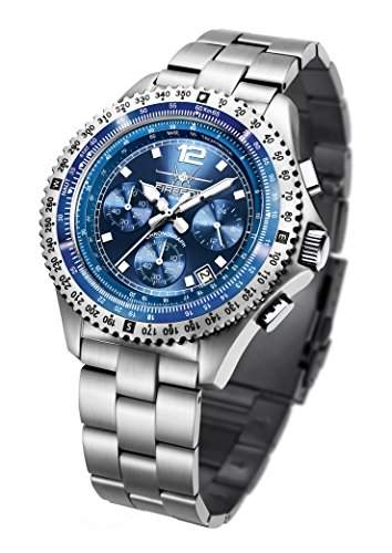 FIREFOX FIGHTER FFS05-103 sunray blau Chronograph Herrenuhr Armbanduhr massiv Edelstahl Sicherheitsfaltschliesse 10 ATM Pruefdruck