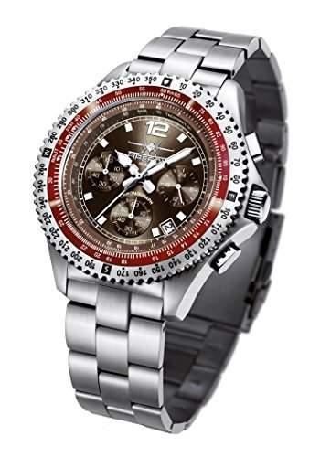 FIREFOX FIGHTER FFS05-106 sunray coffee Chronograph Herrenuhr Armbanduhr massiv Edelstahl Sicherheitsfaltschliesse 10 ATM Pruefdruck