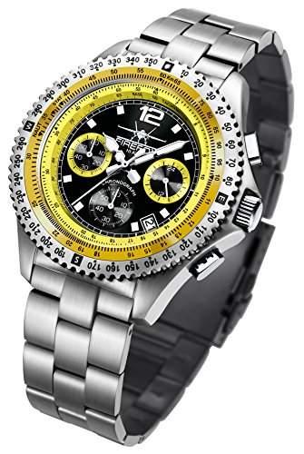 FIREFOX FIGHTER FFS05-108 schwarzgelb Chronograph Herrenuhr Armbanduhr massiv Edelstahl Sicherheitsfaltschliesse 10 ATM Pruefdruck