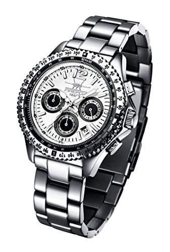 FIREFOX RACER FFS15-101 weiss Herrenuhr Armbanduhr Chronograph massiv Edelstahl Sicherheitsfaltschliesse 10 ATM Pruefdruck