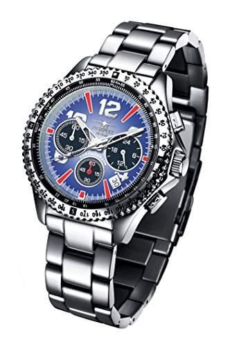 FIREFOX RACER FFS15-103 blau Herrenuhr Armbanduhr Chronograph massiv Edelstahl Sicherheitsfaltschliesse 10 ATM Pruefdruck