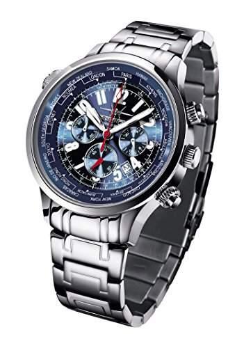 FIREFOX WORLDTIMER FFS40-103 sunray blau Weltzeitanzeige Chronograph Herrenuhr Armbanduhr Sicherheitsfaltschliesse massiv Edelstahl wasserdicht Miyota OS20 Werk