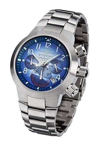 FIREFOX THE ROCK FFS90-103 sunray blau Chronograph Herrenuhr Armbanduhr massiv Edelstahl Sicherheitsfaltschliesse 10 ATM Pruefdruck