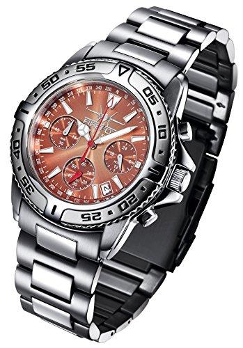 FIREFOX DESTROYER FFS01 106 sunray kastanie Chronograph massiv Edelstahl Sicherheitsschliesse Armbanduhr 10 ATM Pruefdruck