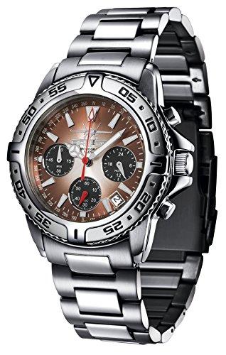 FIREFOX DESTROYER FFS01 106b sunray kastanie schwarz Chronograph massiv Edelstahl Sicherheitsschliesse Armbanduhr 10 ATM Pruefdruck
