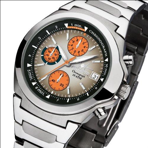 FIREFOX FFS06 102c CLASSIC Zifferblatt schwarz orange Herren Armbanduhr Chronograph Seiko Werk Sonderaktion Sonderpreis