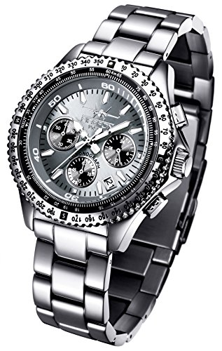 FIREFOX RACER FFS15 104 titangrau Armbanduhr Chronograph massiv Edelstahl Sicherheitsfaltschliesse 10 ATM Pruefdruck