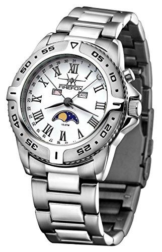 FIREFOX Mondphasenuhr FFS01 501b weiss gun color massiv Edelstahl Armbanduhr Sicherheitsfaltschliesse 10 ATM wasserdicht Miyota 6P80 Kaliber