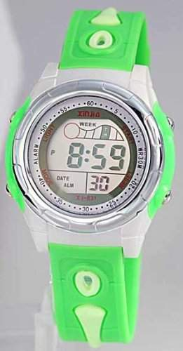Sportliche Kinderuhr Digitaluhr mit Licht Stoppuhr NEU gruen 3599