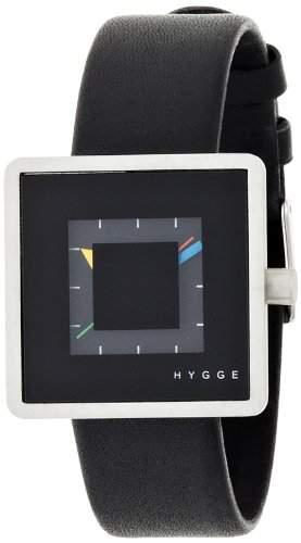 Hygge 2089Unisex Quarzuhr mit schwarzem Zifferblatt Analog-Anzeige und schwarz Lederband msl2089bk BK