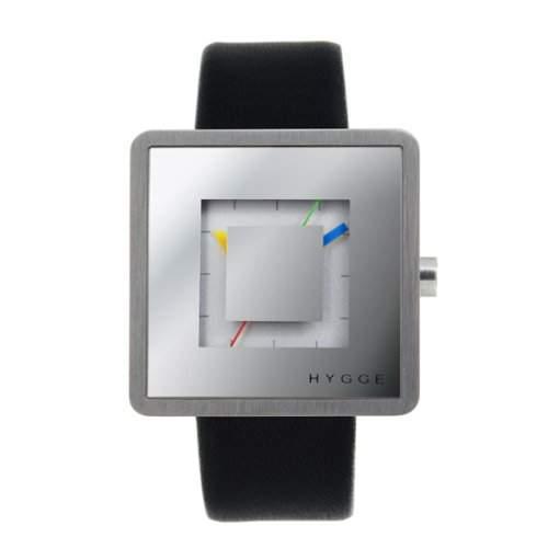 Hygge 2089Unisex Quarzuhr mit Silber Zifferblatt Analog-Anzeige und schwarz Lederband msl2089ch M