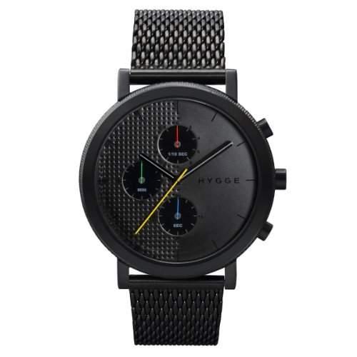 Hygge 2204Unisex Quarzuhr mit schwarzem Zifferblatt Chronograph-Anzeige und schwarz Edelstahl vergoldet Armband msm2204bc BK