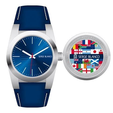 Zeigt Serge Blanco XXL rund Leder blau sb5912 3