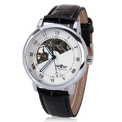 Mens WINNER, Skelett Mechanische Uhr Armbanduhr Geschenkbox fuer die erfolgreiche Business man gentleman, Weiss