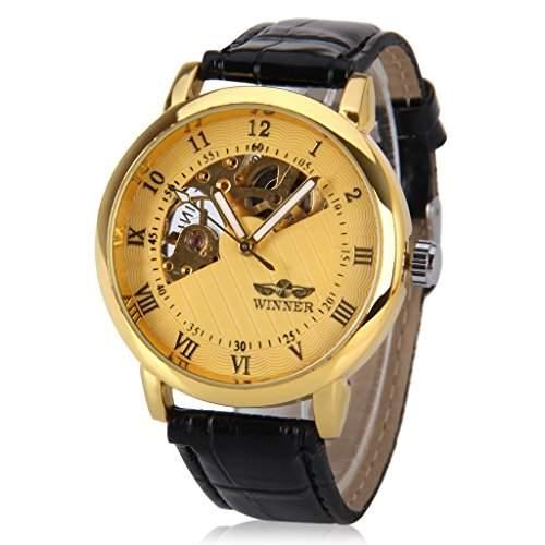 Mens WINNER, Skelett Mechanische Uhr Armbanduhr Geschenkbox fuer die erfolgreiche Business man gentleman, Gold