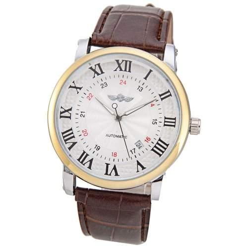 Mudder Winner Mode roemische und arabische Ziffern Anzeige Automatische Mechanische Armbanduhr weiss Zifferblatt