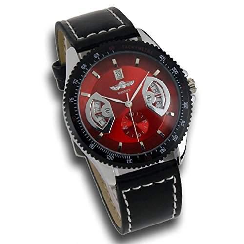 Herrenuhr - Automatik Uhr - Lederarmbanduhr - rot
