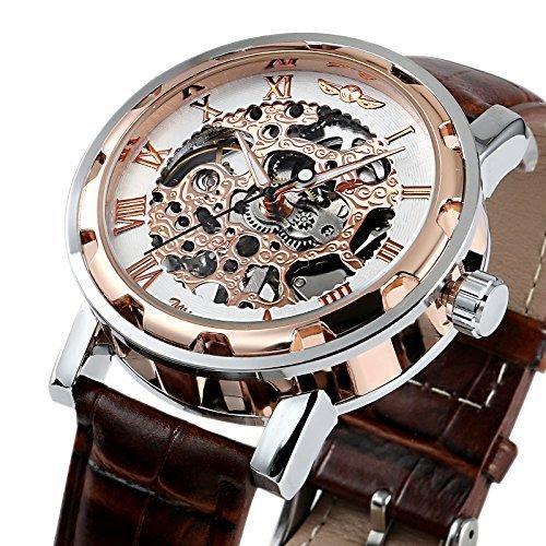 Edelstahl Goldenes Skelett Zifferblatt Mechanisch aufziehbar Luxus Uhr Lederband Sport Armbanduhr wm424