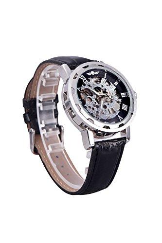 Maenner Uhr Winner Klassische Skeleton Dial Handaufzug Mechanische Sport Armee Uhr fuer Maenner Hohle transparentes Zifferblatt mit Lederarmband Buegel Schwarz Silber