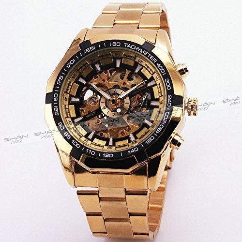 Best Verkauf Russische Skelett luxus Herren Automatische Mechancial Armbanduhr Golden Gurt schwarz Zifferblatt