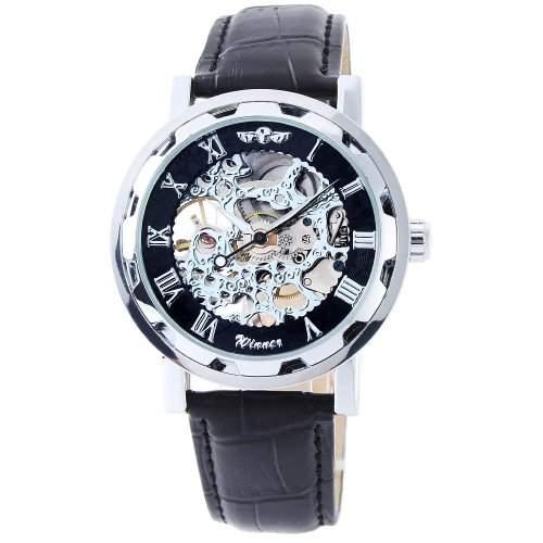 Winner - Herrenuhr - Automatik Uhr - Leder armbanduhr - silbern & schwarz