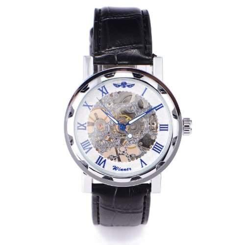 Winner Herren-Armbanduhr Analog Leder Schwarz WA190
