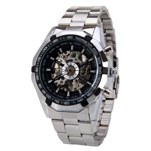 Winner Automatikuhr Mechanische Skelett schwarze der Maenner Zifferblatt Silber Steel Band Wrist Watch