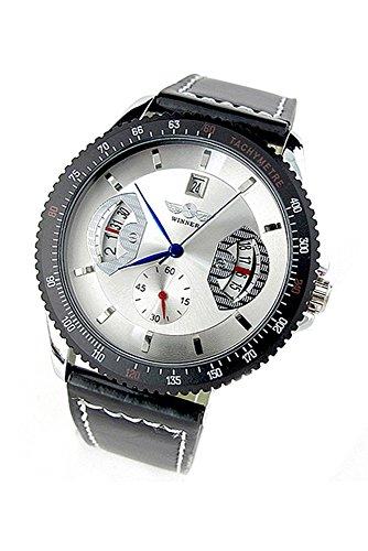 Winner Maenner Datum Automatische Mechanische Armbanduhr Weisses Zifferblatt mit schwarzem Band