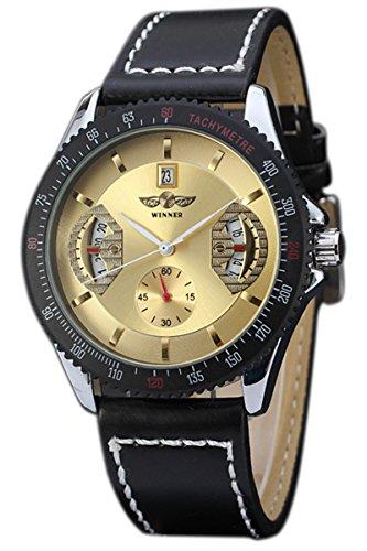 Winner Maenner Datum Automatische Mechanische Armbanduhr Goldenes Zifferblatt mit schwarzem Band