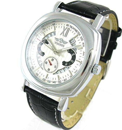 Winner Herren Fashion starten quadratisches Zifferblatt schwarz Leder Armbanduhr