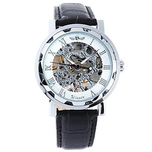Winner Automatik Uhr Leder armbanduhr weiss Silber