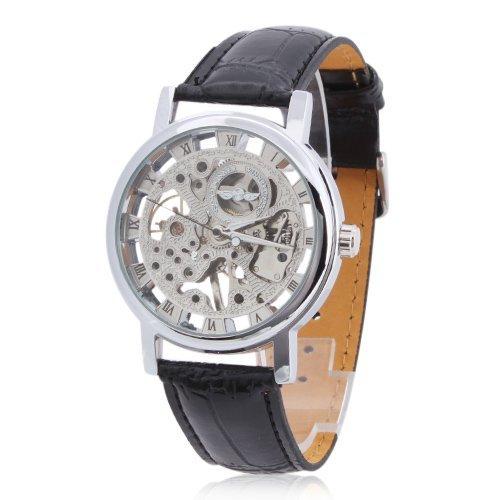 Winner mechanische Uhr Lederarmbanduhr Silber