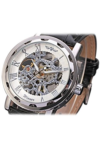 WINNER Klassische Maenner mechanische Armbanduhr Silber