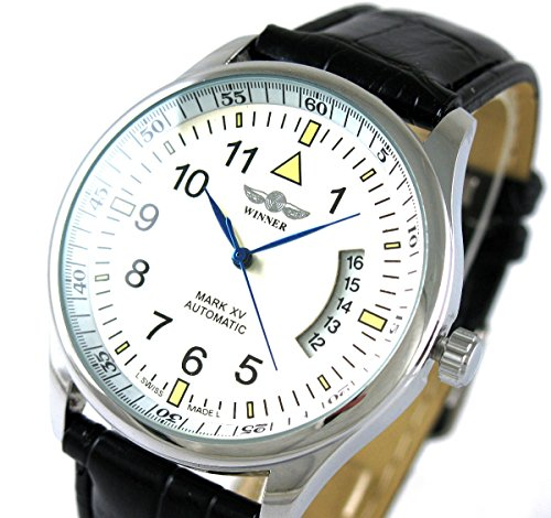 Winner Herren s Day Datum Lederimitat Automatische Mechanische Sport Fashion self wind Armbanduhr