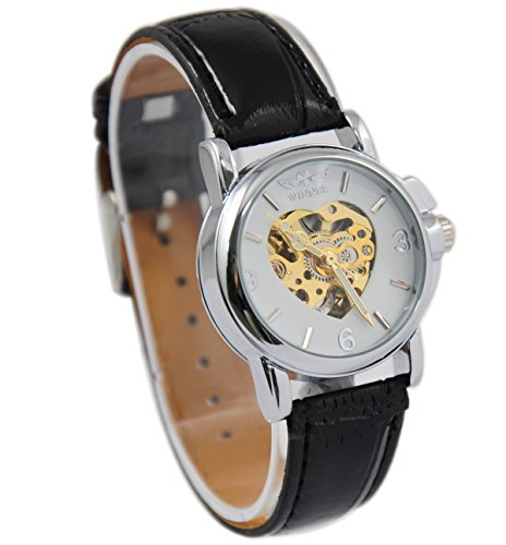 Winner Herren Skelett Ziffernblatt Leder Marke Auto Automatische Mechanische Uhr